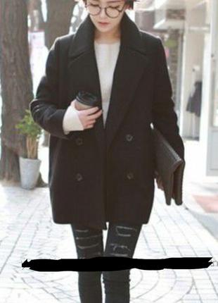 Шерстяное (натуральная шерсть) пальто бойфренд обмен boyfriend на пуговицах черное