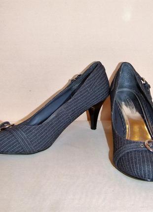 """Стильные туфли """"spot on"""" цвет - антрацит в белую полоску, размер 37"""