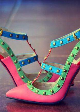 Босоножки женские/босоножки средний каблук/босоножки высокий каблук/красная подошва/яркие