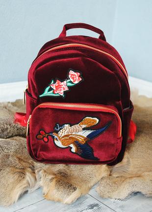Рюкзак из бархата-бархатный рюкзак с аппликацией- рюкзак с вышивкой