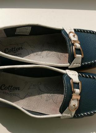 Удобнейшие кожаные лоферы, туфли тм cotton traders дл.по ст. 27 см