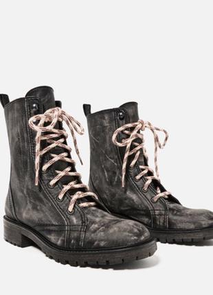 Кожаные ботинки берцы zara