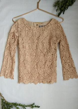 Блузка кофточка кружево кремовый бежевый пудра