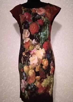 Дизайнерское платье цвета марсала с принтом