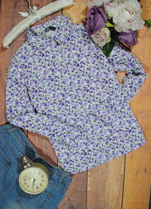 Цветочная плотная рубашка  ewm размер uk12 (m) блузка в цветы