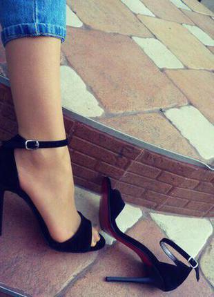 Босоножки черные/женские босоножки/красная подошва/средний каблук/высокий каблук