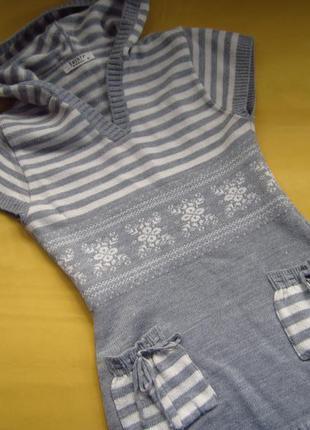 Фирменная тёплая туника с капюшоном,свитер,отличное состояние