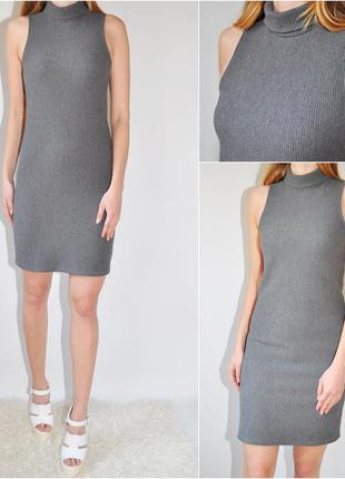 Платье под горло в рубчик yd
