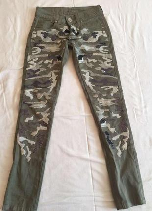 Джинсы штаны милитари в паетках guarapo