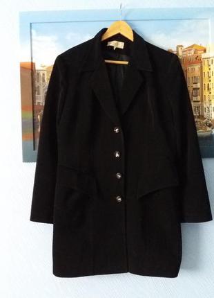 Черное пальто бойфренд boyfriend удлиненный пиджак на пуговицах