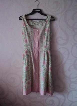 Платье на пуговицах с цветами на лето, летнее платье из льна, платье халат лен