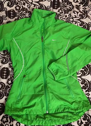 Спортивная крыта, олимпийка nike оригинал, зелёная, со светоотражателями