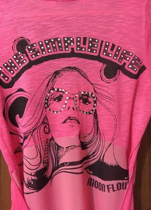 Классная /сильная/ футболка в насыщенном розовом цвете от zarga