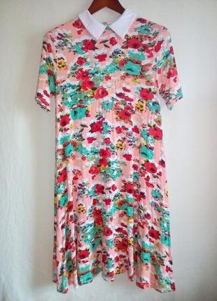 Платье миди, цветочный принт, atmosphere
