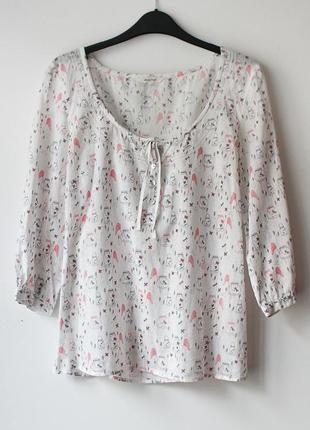 Блузка с милым принтом white stuff, натуральная ткань  • l (примерно на грудь 90-95 см