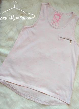 Белая маечка в розовые катышки tammy. размер s