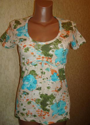 Хлопковая футболочка в цветочный принт р.8