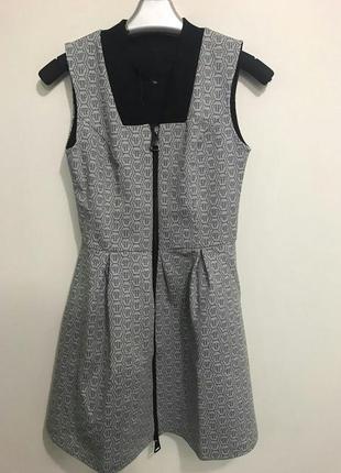 Серое платье/женское платье/короткое платье/платье неопрен/пышная юбка