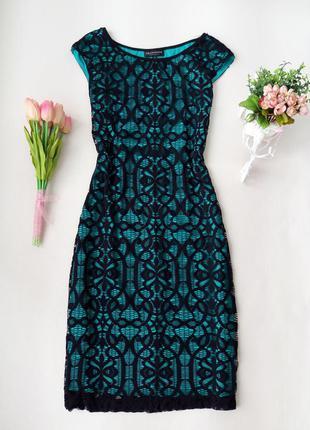 Кружевное платье миди с бирюзовым подкладом от connected aparel размер m-l (10) (см. замеры).