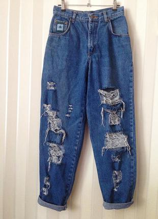 Джинсы бойфренды с высокой талией, завышенная талия, высокая посадка, mom jeans