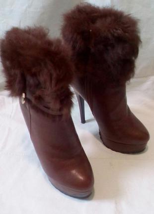 Зимние полусапожки, ботинки, ботильоны с натуральным кроликом