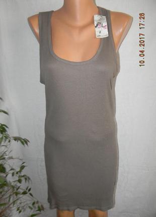 Новая удлиненная маечка-платье  в рубчик