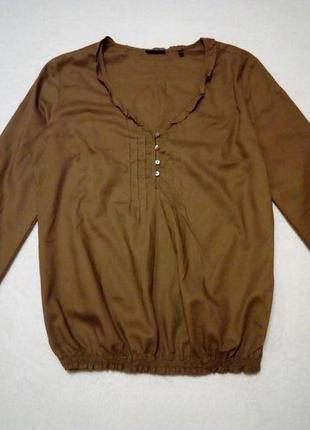 Хлопковая блуза горчичного цвета