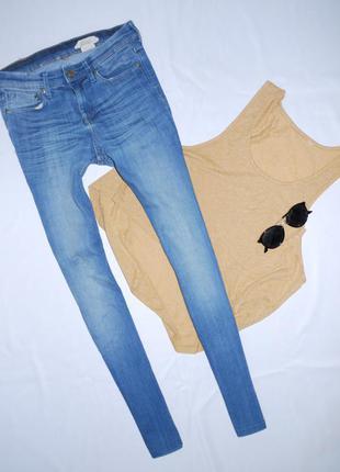 Светло синие скинни с завышенной посадкой h&m  /skinny / узкие джинсы