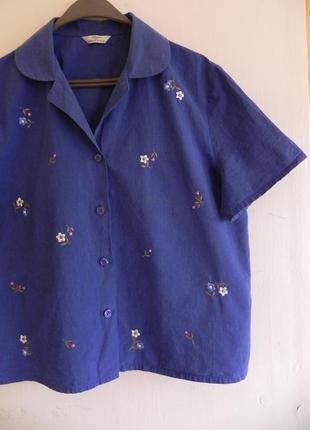 Актуальная хлопковая рубашка с вышивкой 42-46 рр ( см.замеры)