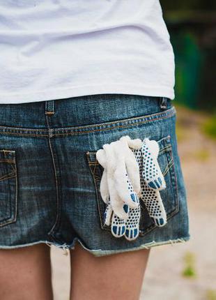 Стильная джинсовая юбка с потертостями (размер м)