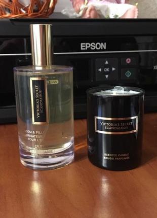 Ароматизированная вода и свеча victoria's secret. подарочный набор