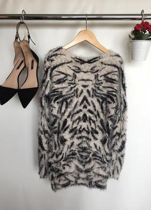 Актуальная кофта свитер травка в принт с длинным рукавом