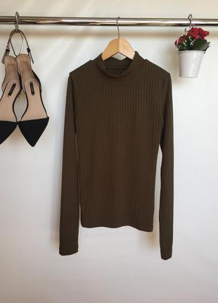Стилная трикотажная кофта джемпер в модный рубчик с длинным рукавом