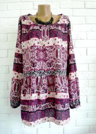 Модная блузка в этно стиле из плотного шифона cherokkee uk22 большой размер в идеальном состоянии