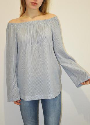 Блуза с открытыми плечиками и расширенными рукавами  french connection