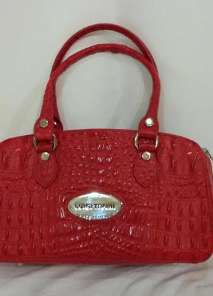 Красная кожаная сумка luigi traini, италия.