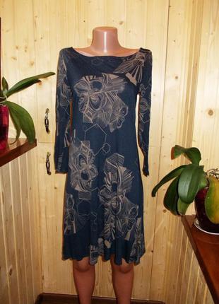 Трикотажное платье с длинным рукавом размер -m