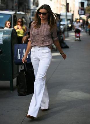 Белые льняные брюки завышенная посадка