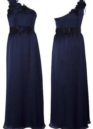 Темно синее платье с поясом длинное в пол макси