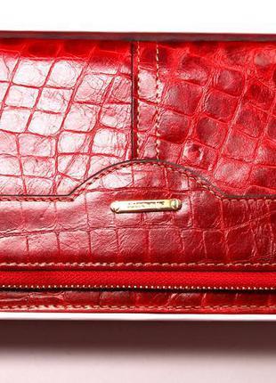 Кошелек кожаный крокодил, марсала, nivacott, 100% натуральная кожа