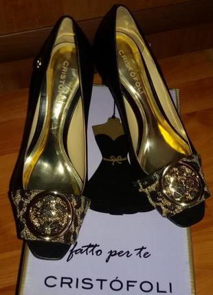 Новые туфли cristofoli с открытым носком