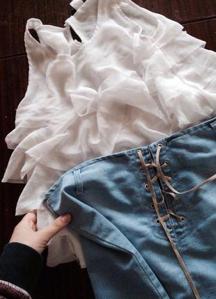 Юбка джинсовая на шнуровке
