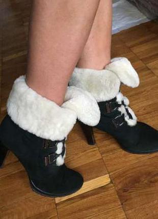 Зимние ботинки натуральный замш и овчина