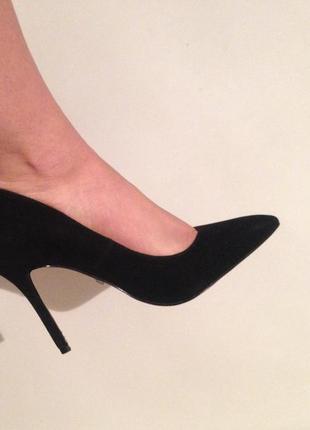 Туфли лодочки острый носок черные замшевые натуральная кожа кожаные
