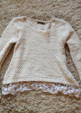 Плюшевый свитер с кружевом
