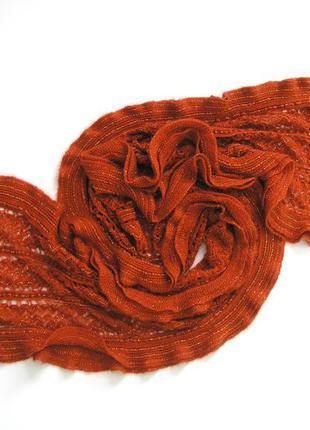 Большой ажурный вязаный шарф - новый -216х34см, доставка бесплатно.
