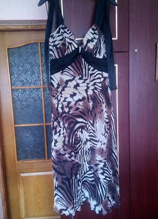 Шифоновое выпускное вечернее невероятное платье со стразами swarovski леопардовый атласное