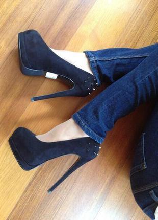 Туфли женские/туфли черные/высокий каблук/танкетка/платформа/натуральная кожа/замша/каблук