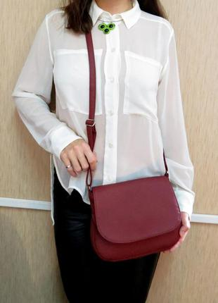 Сумочка на плечо, кроссбоди цвета бордо, марсала