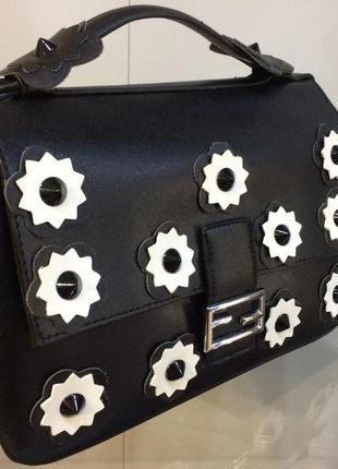 Сумка женская на длинном ремешке/кроссбоди/женская сумка/маленькая сумка/черная сумка/цветы